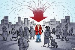 A cartoon shows a huddled man in an urban crowd and a funel of ones and zeros converging and pointing down at him as a red arrow.