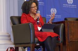 McGill University Professor Adelle Blackett speaking at an International Labour Organization event.