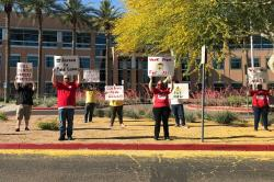 Call center workers protesting.