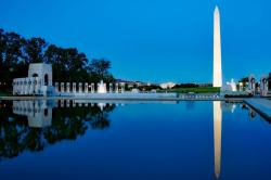 The Washington Monument reflected in the reflecting pool.