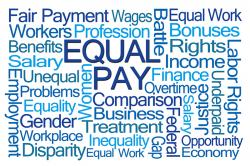 Word tag cloud - Equal Pay is largest amid payment, wages, workers, profession, comparison, business, gender, inequality, overtime, women, federal, gap