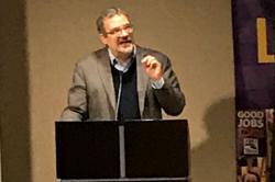 Hector Figueroa speaks at Lois Gray's Memorial Service