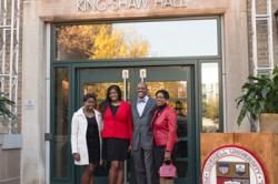 King Shaw Family in front of the Hall that bears their name
