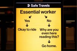 MTA sign for essential workers