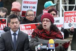 Valeria Treves leads rally for New York Immigration Coalition