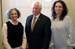 Partners in Policymaking graduates Leslie Feinberg and Ashley Gazes with New York State Assemblymember Charles Lavine,