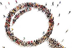 Illustration: Many people coming together and arranging themselves to form the shape of a magnifying glass as seen from above.