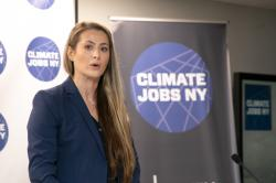 Allison Ziogas speaks at Climate Jobs New York's Inaugural Gala