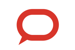 Logo of The Conversation. Red Speech Bubble.