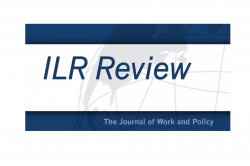 ILR Review logo. Blue text on globe watermark