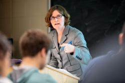 Kati Griffith, associate professor of labor and employment law, speaks during a class in Ives Hall.