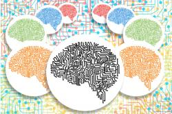 An illustrated image of brains drawn to look like computer wiring