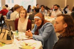 Students talking during the 2019 Labor Roundtable