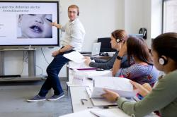 Zoltan Antal, MD, speaking at a nanny workshop