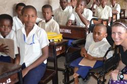Kelly Clark took her expertise to schools in Tanzania.