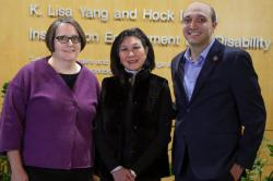 (L to R): Lisa Shaw, K. Lisa Yang '74, and Hassan Enayati pose together outside the Yang-Tan Institute on the Cornell campus.