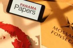 A small placard reading, Panama Papers, sits on a map of Panama next to the words, Mossack-Fonseca