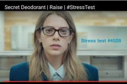 A worried looking woman next to the words, Stress test 4528