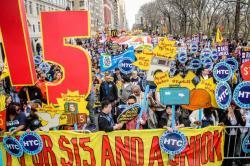 HTC protestors fill a NYC street
