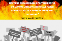 Quote by John Washington: Change doesn't happen because powerful people sit in their office and make powerful decisions. Change happens because lots of little people do lots of little things that force powerful people to make powerful decisions.