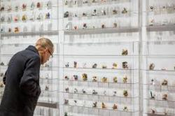 Man closely inspecting small unidentifiable objects arranged carefully in regular rows and columns on a white museum wall.