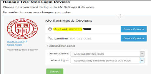 Windows menu verifying addition of new two-step login device