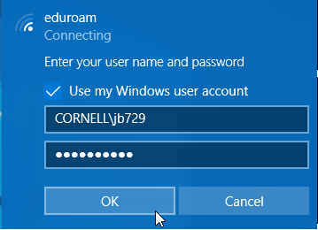 Windows connection login dialog for EduRoam