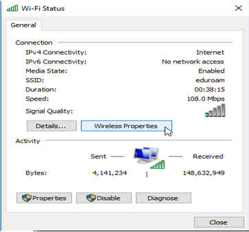 Windows dialog for Wi-Fi properties