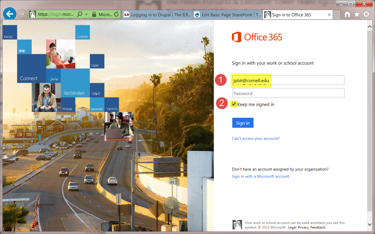 Microsoft Offie 365 login screen
