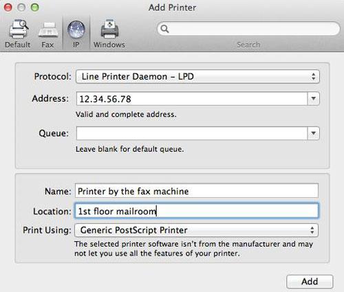 Add a printer address