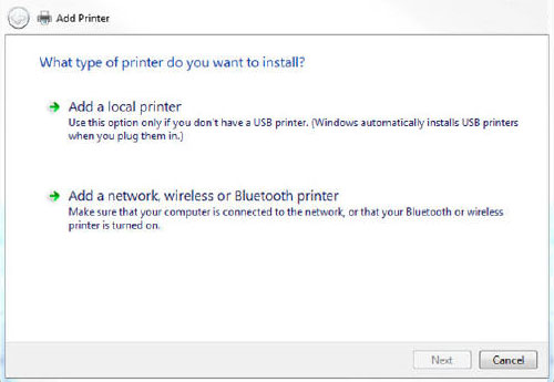 Add a printer dialog box