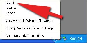 Disable a wireless network