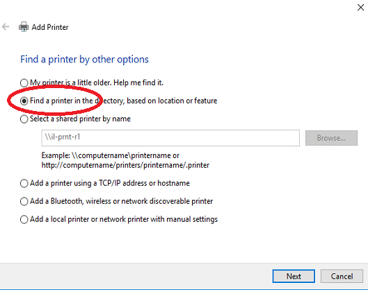 Find a Printer Windows 10