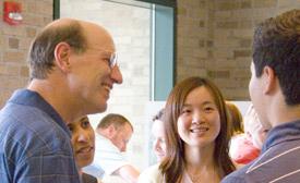 Dean Katz enjoys an ice cream social with students.