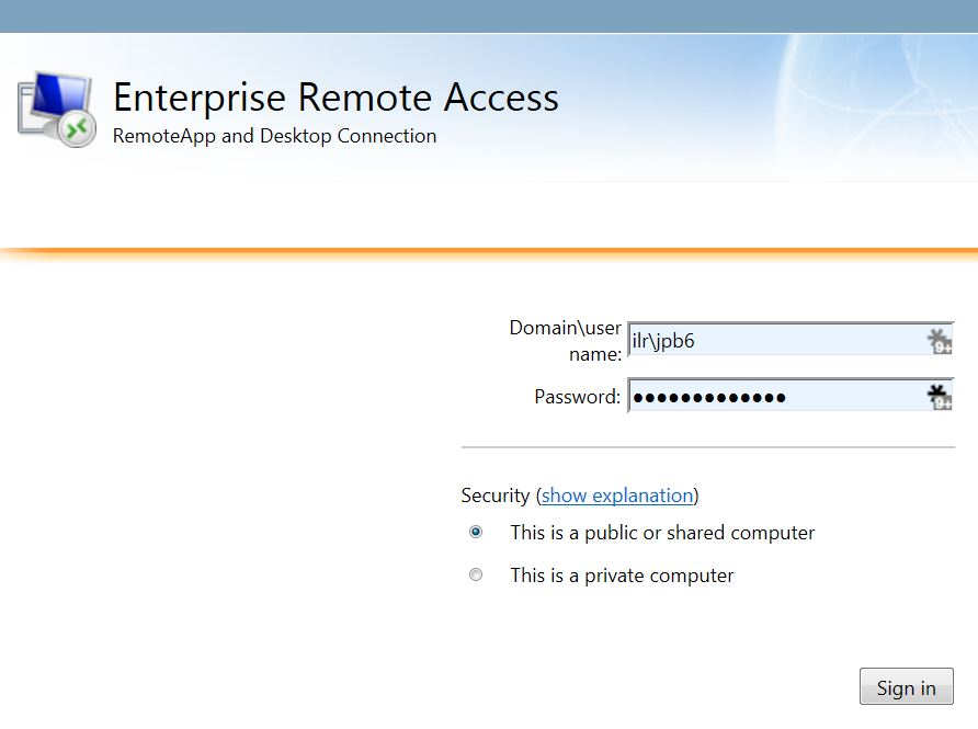 Remote access log in window