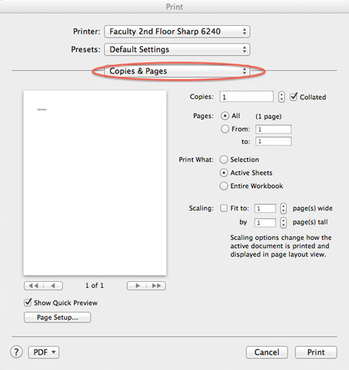 Print copies dialog box