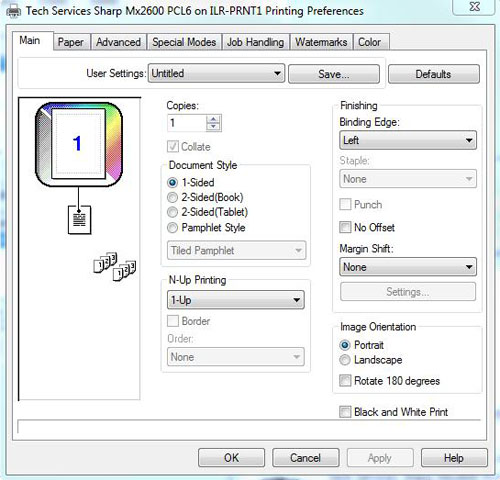Printing preferences dialog box