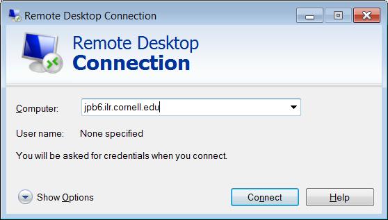 Remote desktop connection dialog box