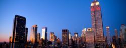 NYC skyline on a cloudy evening