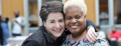 Lisa Nishii, left, with Vanessa Lillard, assistant director at the Office of Academic Diversity Initiatives, at an OADI senior celebration event in May.