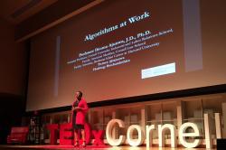 Assistant Professor Ifeoma Ajunwa deilvers a TEDx talk at Cornell