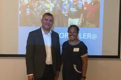 Worker Institute at Cornell Research Specialist Legna J. Cabrera and Manuel Castro, executive director of New Immigrant Community Empowerment