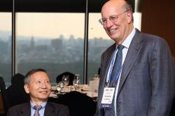 Won-Duck Lee, left, former president of the Korea Labor Institute is pictured with Harry Katz.