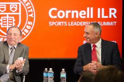(Left to right) Jeremy Schaap '91, ESPN personality, Gary Bettman '74, NHL Commissioner, and Rob Manfred '80, MLB Commissioner, speak at ILR Sports Leadership Summit
