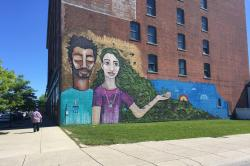 A mural done by students at the Buffalo Center for Arts and Technology