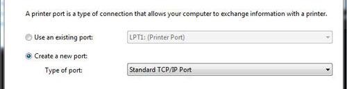 Select TCP/IP port