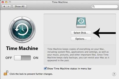 Time Machine select a disk