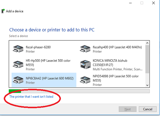 printer not listed Windows 10